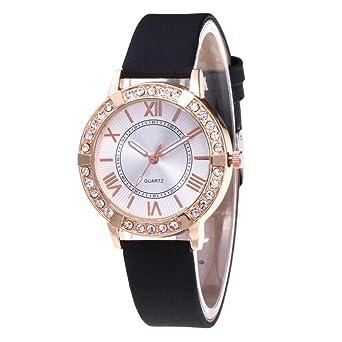 QinMM Reloj de pulsera de cuarzo analógico con banda de cuero muñeca diamante para mujer (Morado): Amazon.es: Relojes