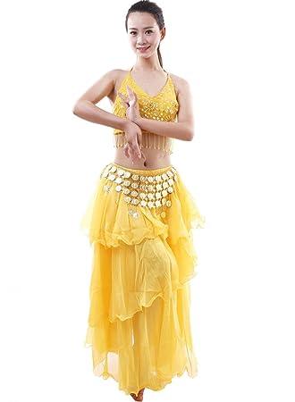 Astage Mujer Danza Disfraz Danza del Vientre Bra Falda Set Indian Dance BH Set Rubio