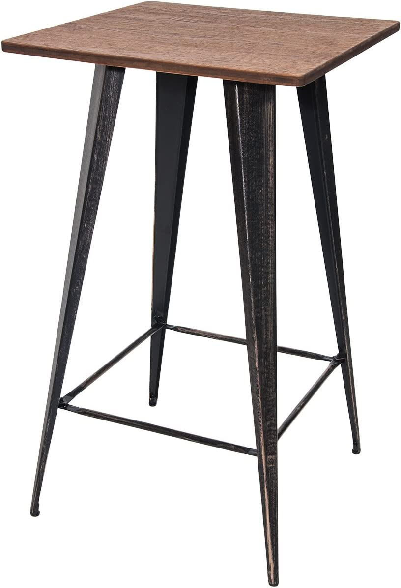 Merax Bar Table No Chairs Pub Tables Bar Height 40 Inch High Vintage Bistro Table Metal Rectangular Antique Black