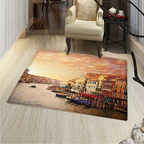 (Scenery Floor Mat Pattern Venezia City Italian Landscape Old Ancient Houses Gondollas Spikes Image Living Dinning Room & Bedroom Rugs 5'x6' Multicolor)
