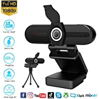 Webcam 1080P with Microphone,HD USB Webcam for Laptop Desktop PC,External Video Conference Camera with Privacy Cover for Video Call,Online Course,Facebook,Youtube Live,OBS Game Streaming