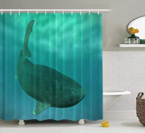 LAONY Fabric Shower Curtain, Waterproof Shower Curtain Set Shark Swimming Deep Animal Aquatic Arctic Blue Dark Set of 12 Hooks for Bathroom Set 72x78 inches,