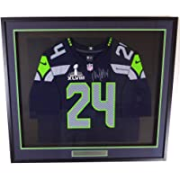 $599 » Seattle Seahawks Marshawn Lynch Autographed Framed Blue Nike Jersey With SB XLVIII Patch ML Holo