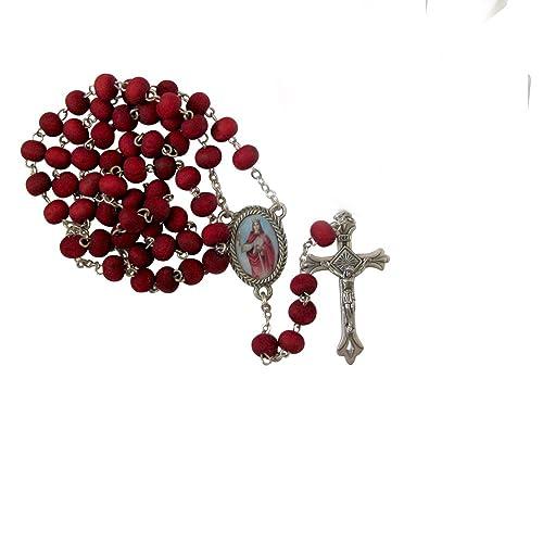 Gifts by Lulee, LLC Santa Barbara Rosario Hecho De Petalos De Rosa & Tarjeta Gratis Bendecida Por Su Santidad Francisco