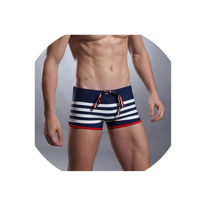 Men/'s Sauvage Stripe Sport Retro Lycra Swim Shorts Sz Sm Royal Bl//Orange 2029IM
