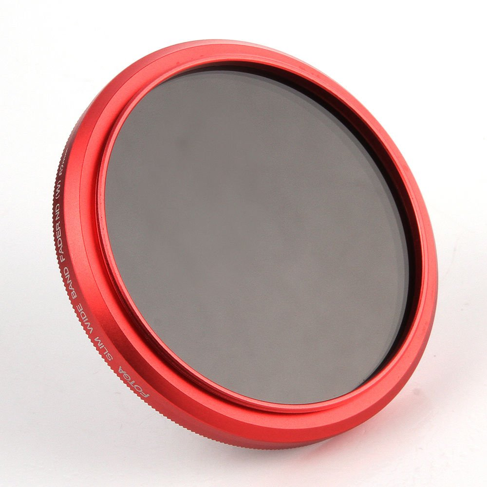 FocusFoto Fotga 40.5mm Ultra Slim Variable Fader ND2-ND400 Neutral Density ND Filter Adjustable ND2 ND4 ND8 ND16 ND32 ND100 to ND400 for Canon Sony Nikon DSLR Camera Lens with Red Frame Ring