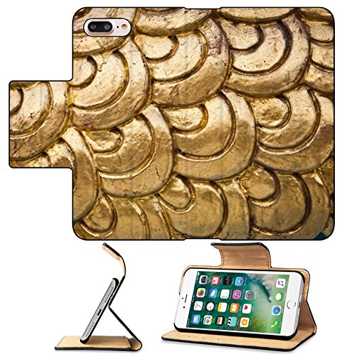 - MSD Premium Apple iPhone 7 Plus Flip Pu Leather Wallet Case Golden dragon scale background texture IMAGE 11689223