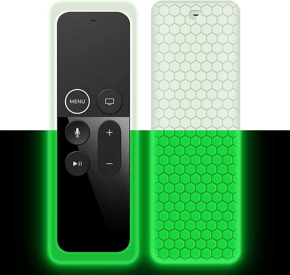 Remote Case Cover Sleeve for Apple TV 4K 4th 5th Generation 64GB/32GB Latest Model-Silicone Protective Case/Skin[Ultra Light][Anti-Slip] Shockproof[Anti-Lost] Holder for New Siri Remote (Glow Green)