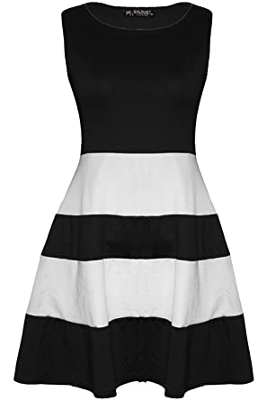 Oops Outlet Women\'s Sleeveless Colored Blocks Striped Panel ...