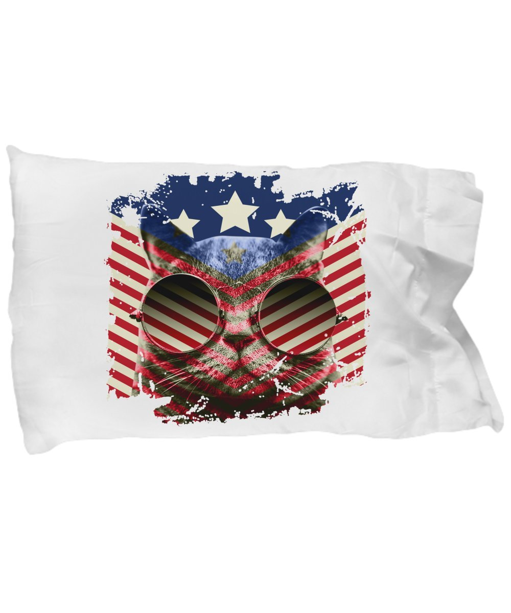 Funny Novelty Gift for 4th of July Cat Sunglasses American Flag Best Fourth of July Independence Day America USA US Cat Cats Pillow Case