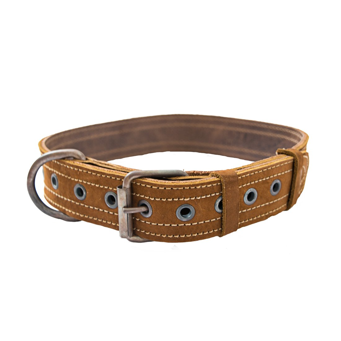 Leather Dog Collar For Medium Size Dog (10 to 19 Inches) Handmade by Hide & Drink    Swayze Suede