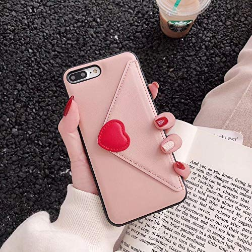 Twinlight Luxury Heart New Embroidery Leather Fashion Hot Cute Pink Case for iPhone 7 Plus 7 8 X Phone Heart (Pink, for iPhone XR)
