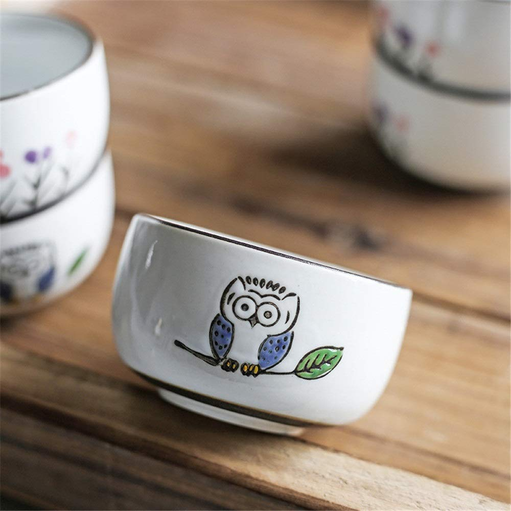 Ceramic Teapot Cups Set Cute Owl Pattern Glaze Japanese Style Teapot With Handle And Tea Cups Set Service For 4 Adult Beautifully Packaged In Gift Box Excellent Home Decor Asian Gift for Thanksgiving