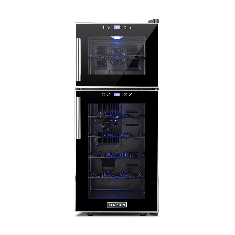 Klarstein Reserva 21 • Weinkühlschrank mit Doppel-Glastür • Getränkekühlschrank • Nutzungsinhalt: 56 Liter • 21 Flaschen • 2 separate Kühlzonen • Touch-Bedienung • LED-Anzeige • 40 dB leise &
