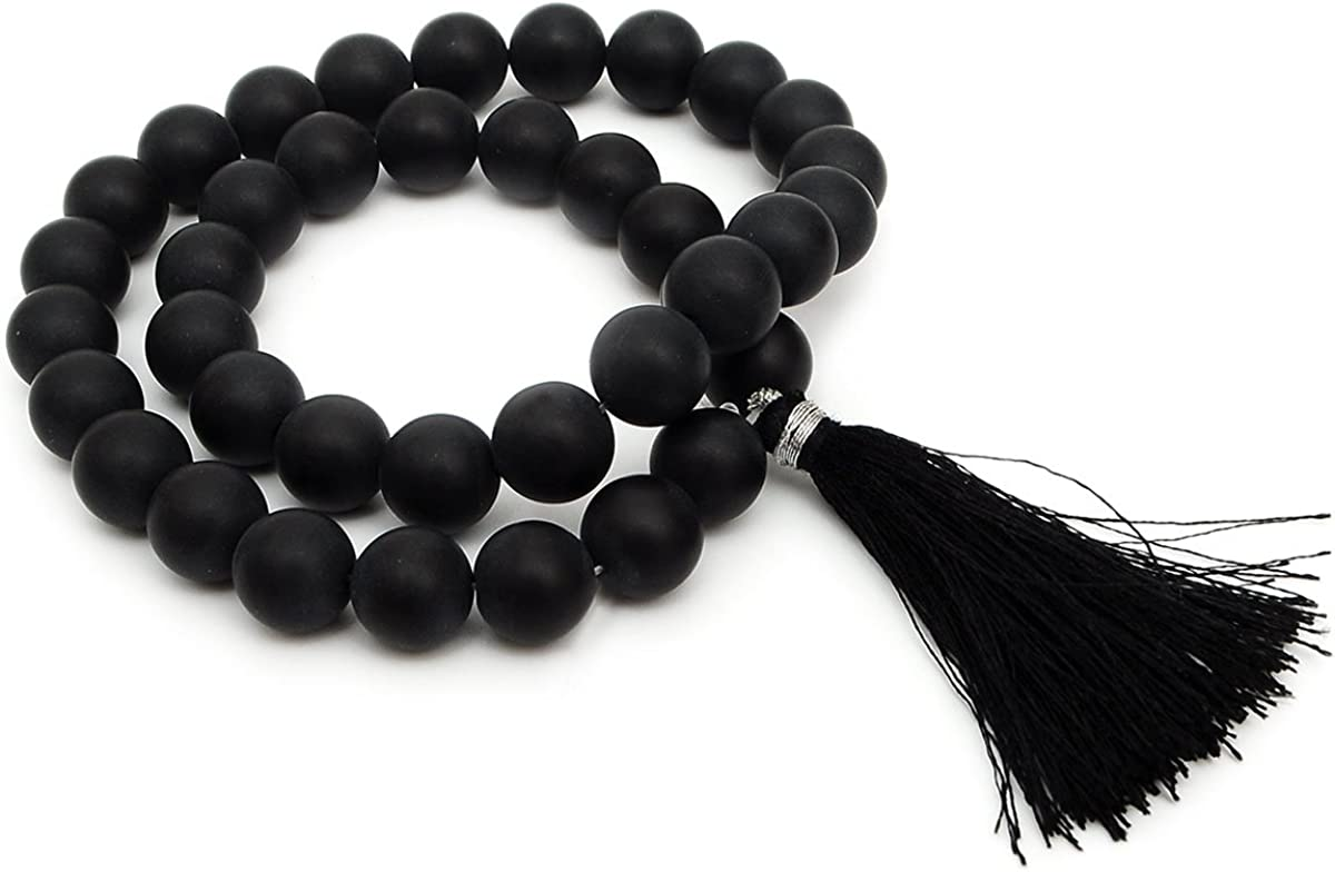 Vietsbay Mala Beads 10mm Natural Gemstones Round Beads Necklace 16 inches Long Crystals