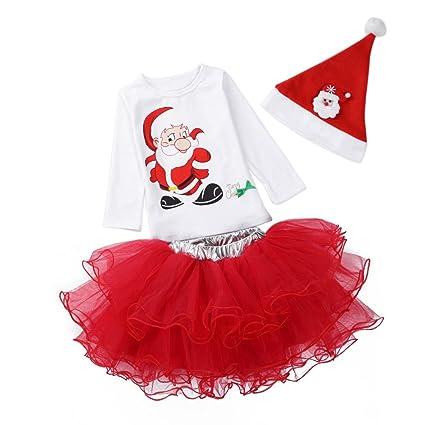 ESHOO Navidad Papá Noel bebé niñas vestido de fiesta 3 ...