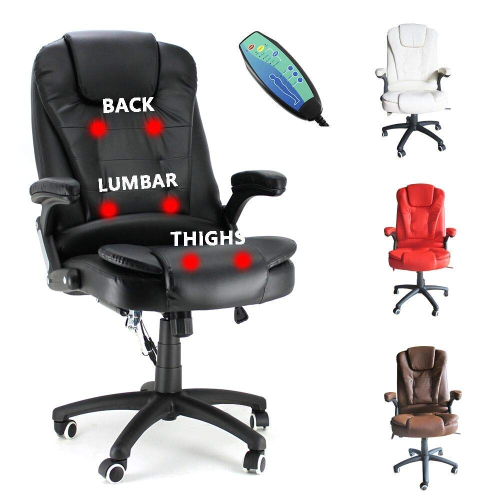 6 Point Massage Office Computer Chair Faux Leather Swivel Reclining