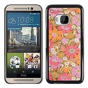 Be Good Phone Accessory // Dura Cáscara cubierta Protectora Caso Carcasa Funda de Protección para HTC One M9 // Purple Flowers Pastel Wallpaper