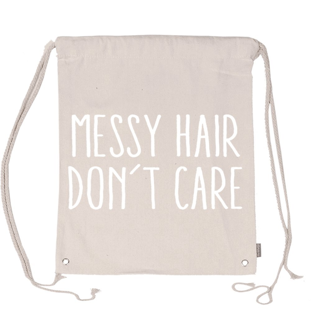 Aliensee Messy Hair Don't Care Unisex Cotton Drawstring Backpack Gym Sackpack