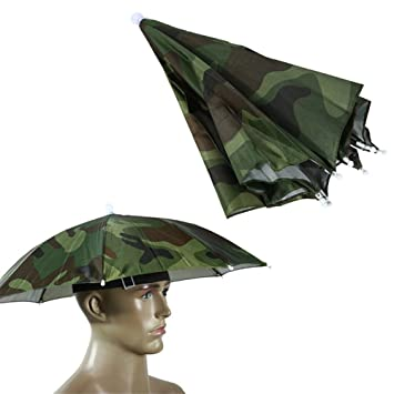 6262920be823c Fostly Umbrella Hat Camouflage Fishing Umbrella Headwear Umbrella Hat Sun  Shade Cap For Fishing Gardening Photography
