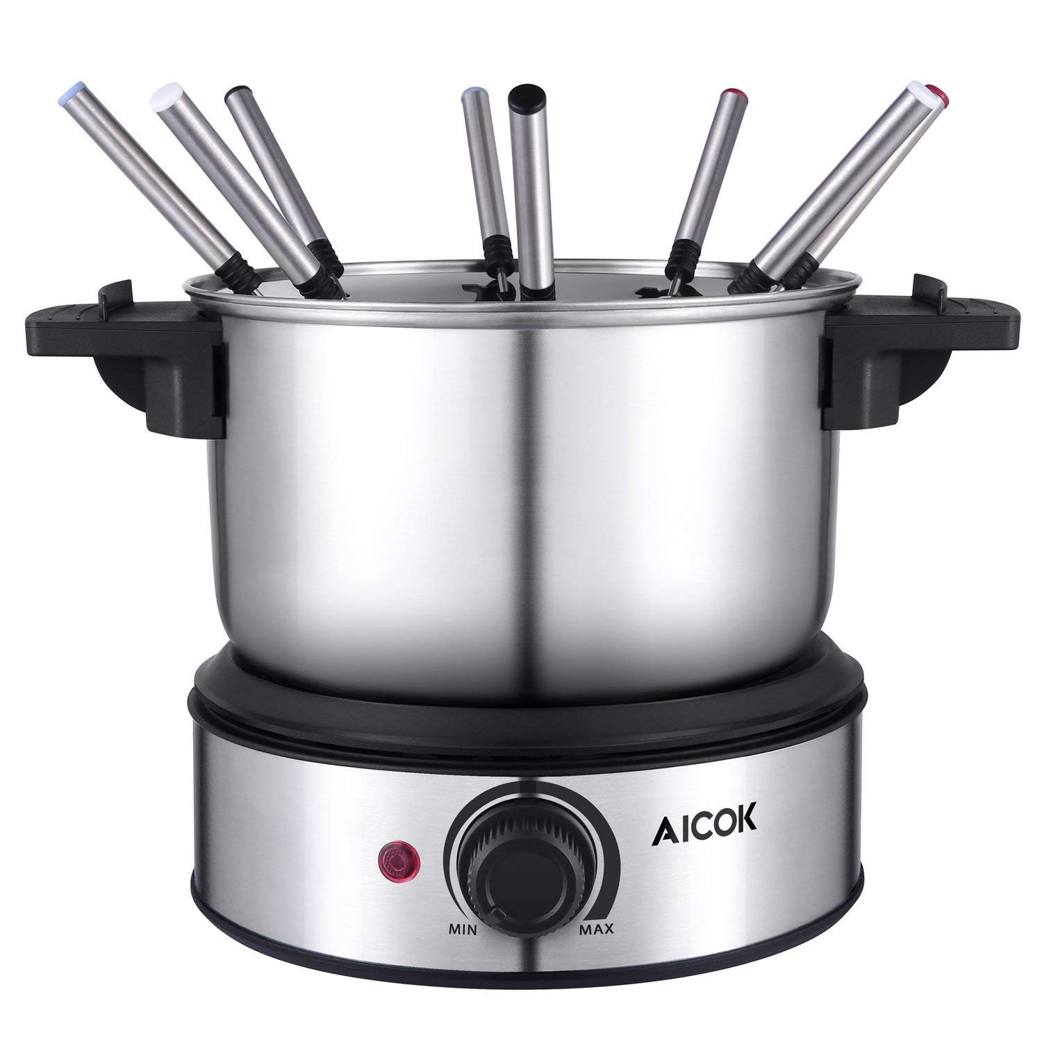 Electric Fondue Maker 6 Cup Stainless Steel Electric Fondue Pot with Temperature Control, 8 Color Fondue Forks and Removable Pot for Chocolate, Caramel, Cheese and Sauces, Aicok by AICOK