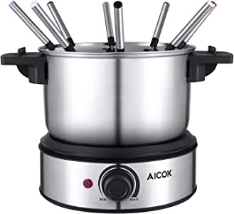 Fondue Pot Electric, 12-Cup Stainless Steel, 8 Color Fondue Forks and Removable Pot Electric Fondue Maker with Temperature Control, for Chocolate, Caramel, Cheese and Sauces, Silver, AICOK