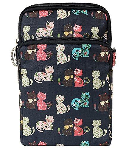Body Pattern Bag Purse Pocket Shoulder Black Bag ililily Cat Cross Strap Lightweight Mini IqdBq