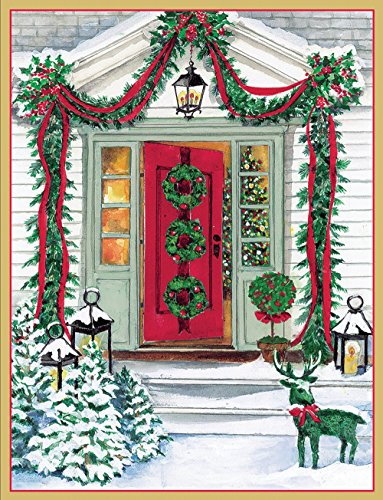 Entertaining with Caspari Red Door with Garlands Christmas Cards (Box of (16 Christmas Boxed Cards)