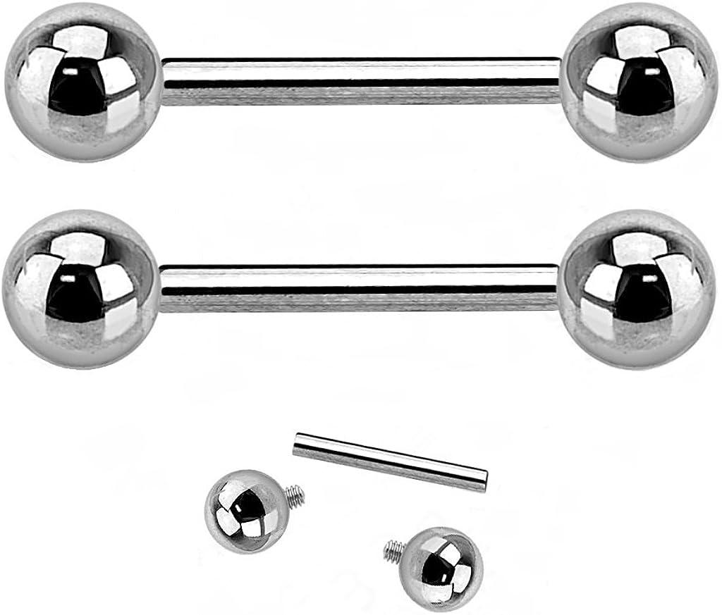 "Pierced Owl G23 Solid Titanium Internally Threaded Barbells - Sold as a Pair (14GA - 1/2"" Length - 4mm Ball Size)"