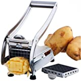 French Fry Cutter Potato Vegetable Slicer Chopper Dicer 2 Blades Stainless Steel