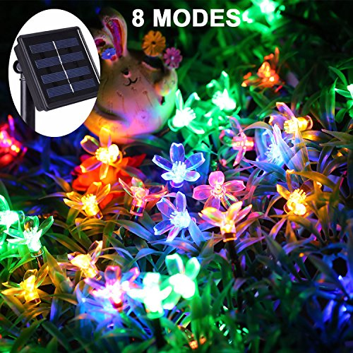 JMEXSUSS 8 Modes 50 LED 30.7Ft Waterproof Solar Flower Blossom String Fairy Decorative Light for Outdoor, Indoor, Garden, Patio, Yard, Home, Christmas Tree, Parties (Flower Blossom, Multicolor) by JMEXSUSS