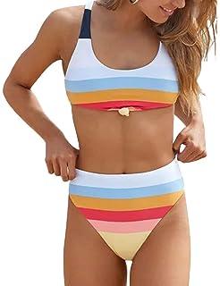 9fb910c09079e Honlyps Two Piece High Waisted Bathing Suit Striped Bikini Set Swimsuits  for Women High Cut Sports