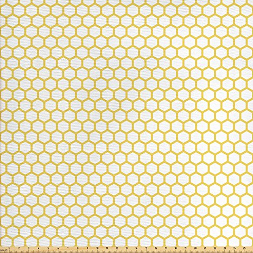 Ambesonne Yellow and White Fabric by The Yard, Hexagonal Pattern Honeycomb Beehive Simplistic Geometrical Monochrome, Decorative Fabric for Upholstery and Home Accents, Yellow White