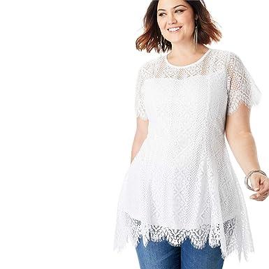7c81c6faf4ee2 Roamans Women s Plus Size Lace Flutter Tunic with Handkerchief Hem at Amazon  Women s Clothing store