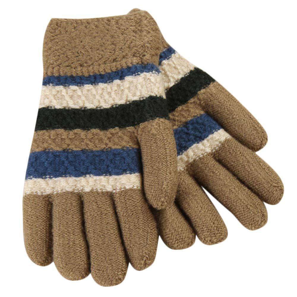 Kids Gloves, Zerototens Children Boys Girls Cute Striped Twist Full Finger Warm Winter Child Gloves Knitted Mitten 5-9 Years Old