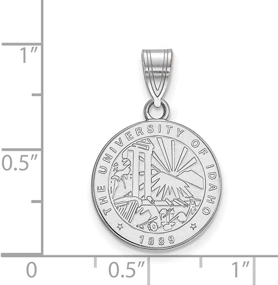 Solid 925 Sterling Silver Official University of Idaho Medium Crest Pendant Charm 22mm x 15mm