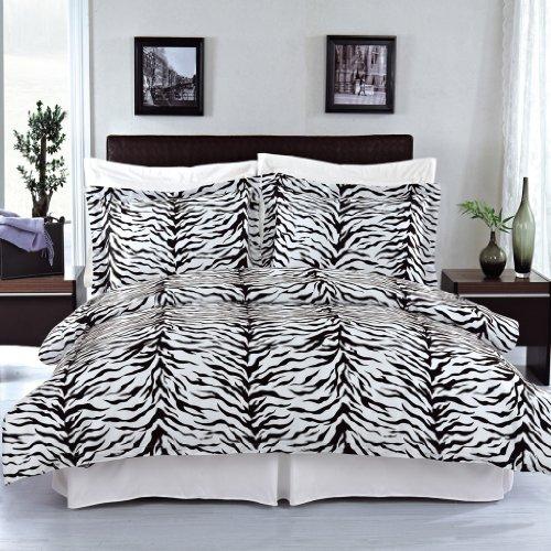 Luxurious FOUR (4) Piece Cal King Size Zebra Comforter Set. Luxury Set Includes100% LUXURIOUS EGYPTIAN COTTON 3 Piece Duvet CoverSet + 1 Piece Down Alternative Comforter (Polyester Zebra Comforter)