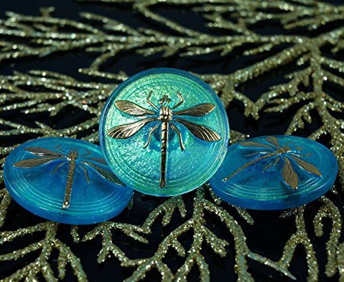 Dichroic Glass Buttons - Handmade Czech Glass Buttons Large Gold Dragonfly Dichroic Vitrail Blue Size 14, 31.5mm 1pc