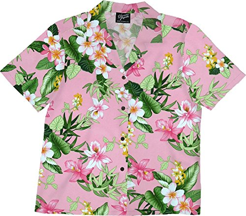 RJC Women Orchid Plumeria Camp Shirt Pink 2X Plus