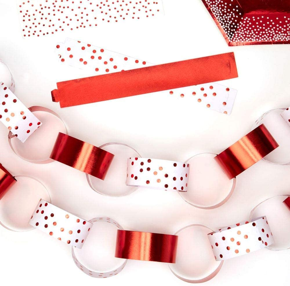 50 Chains Christmas Paper Chain Decorations Red Dotty Design