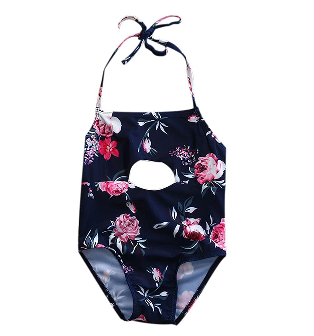 Baby Girl Floral Print Halter Swimsuit Cute Bathing Suit Outfit One Piece Swimwear