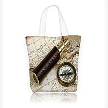 Women s Canvas Tote Handbags vintage brass telescope on antique map with  copy space Casual Top Handle bc2cb4fc13e42