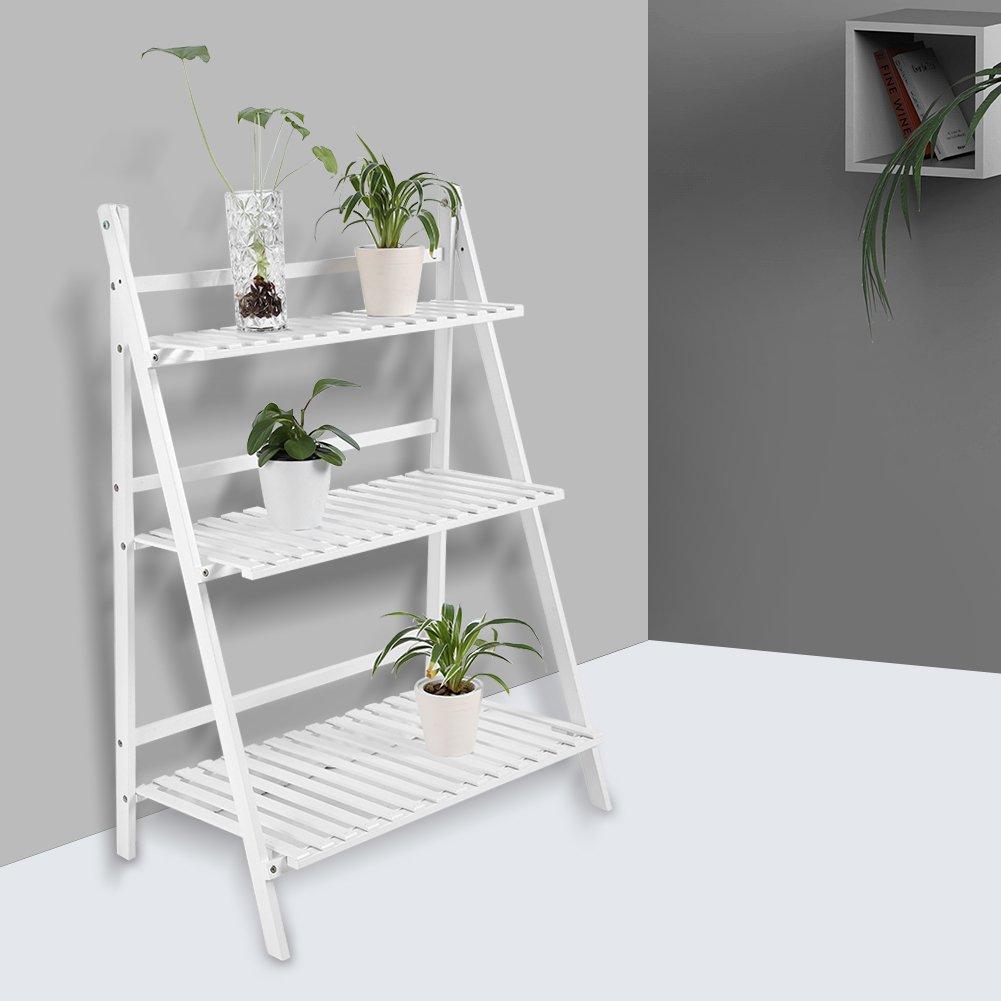 Estante de bamb/ú para macetas de 3 Niveles GOTOP Estante de Almacenamiento Independiente Plegable Escalera para Exterior//Interior Organizador de Plantas de Flores