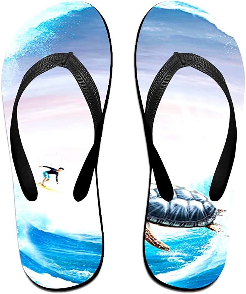 Z-YY Sea Green Turtle Womens Mens Lightweight Flip Flops Beach Slippers Shower Sandal