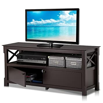 Amazon.com: Topeakmart Wood TV Stand Unit with 2 Doors Storage ...