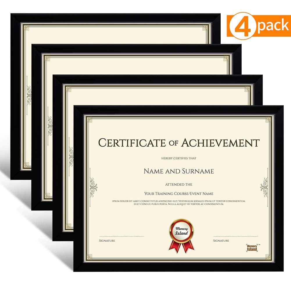 Memory Island Document Diploma Frames 8.5x11, Set of 4 Pack, Certificate Frames, Black, Glass Fronts. Vertical or Horizontal Display, Wall Decor Frame by Memory Island