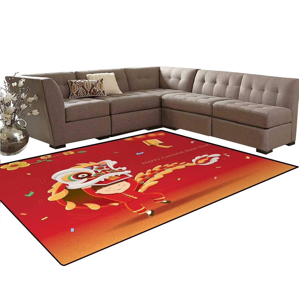 Chinese New Year,Carpet,Little Boy Performing Lion Dance with The Costume Flowering Branch Lantern,Non Slip Rug,Multicolor,5'x6'