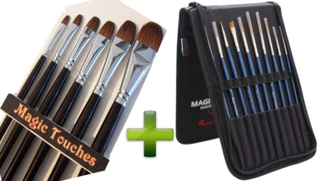 Filbert Paint Brushes Set in Red Sable Bundled with 10 Piece Weasel Hair Detail Art Paint Brush Set for Acrylics, Watercolor, Gouache and Oil Painting. 2 - Item Bundle Red Sable Artist Value Pack by Magic Touches Making Life Magical