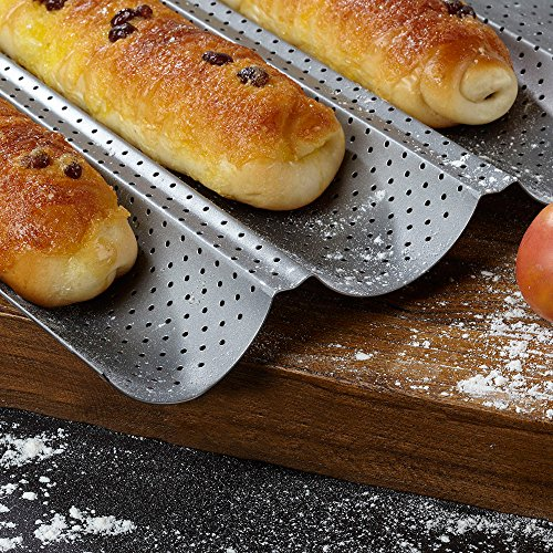 Amagabeli Nonstick Perforated Baguette Pan 15'' x 13'' for French Bread Baking 4 Wave Loaves Loaf Bake Mold Toast Cooking Bakers Molding 4 Gutter Oven Toaster Pan Cloche Waves Silver Steel Tray Italian by AMAGABELI GARDEN & HOME (Image #4)