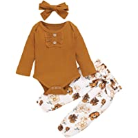 Newborn Baby Girl Clothes Long Sleeve Floral Pants Flower Outfits 12-18 Months with Headband